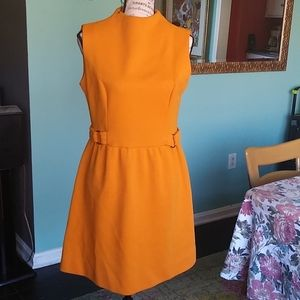🌼🦋Vintage 60s Mod Wool Orange Mini Dress